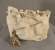 B. Makowsky White Hand-Stitched Leather Shoulder Bag Purse Women Lined