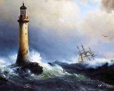 Ship In Rough Sea Eddystone Devon Lighthouse Seascape Painting Canvas Art Print
