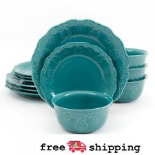 Pioneer Woman 12-Piece Dinnerware Set, Lace Cowgirl Plates Bowls Stoneware, Teal