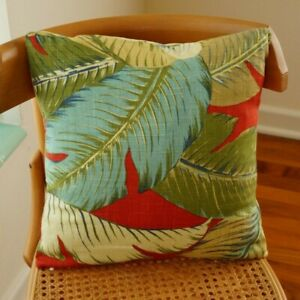 """4 Pillow Covers 16"""" Square Envelope Style Tommy Bahama Tropical Fabric Palms"""