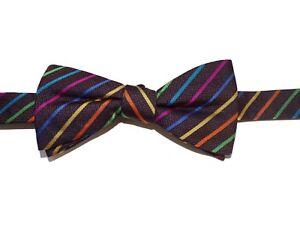 Countess Mara men brown striped bow tie silk new