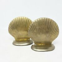 "Vintage Solid Brass Bookends Sea Shell Clam Shell Nautical Beach Decor 4.5"" Tall"