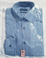 "M&S Autograph Mens Blue Striped Pure Cotton Long Sleeve Shirt Size 14.5"" BNWT"