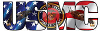 """USMC Marine Corps American Flag Eagle Lettering Large Decal 12"""""""