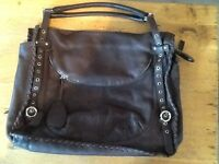 ladies Furla NWOT brown large leather hand bag with two straps