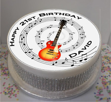 """Novelty Personalised Guitar & Music Notes 7.5"""" Edible Icing Cake Topper birthday"""