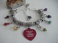 Spiritual Gemstone Chakra Charm Bracelet Sanskrit Wording Namaste Om Yoga Love