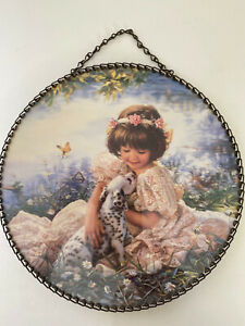 Vintage Flue Cover Print Little Girl with Puppy By Sandra Kuck Chain Edge Repro