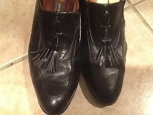 PIERRE CARDIN ESPACE MENS LOAFERS TASSEL BLACK LEATHER SHOES ALTERED HEEL SZ 11
