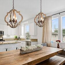 Wood Chandelier Lighting 3 Light Rustic Pendant Farmhouse Fixture Dining Room US