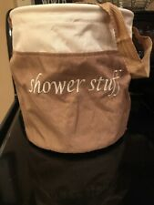 SHOWER CADDY-GREAT FOR DORM ROOM!!-Canvas Beige/Cream. Embroidered Lettering