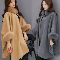 Fashion Women's Winter Warm Jackets Casual Woollen Outwear Cardigan Cloak Coats