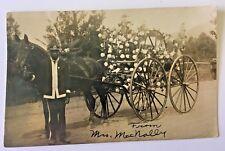 AFRICAN AMERICAN FIREMAN & Horse Drawn Fire Hose Wagon Real Photo Postcard c1914