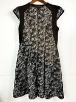 Cue In The City Black & Snakeskin Panelled Fit & Flare Dress 1/2 Zip Size 12