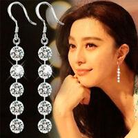 Fashion Delicate Round Zirconia Crystal Silver Dangle Hook Earrings Jewelry