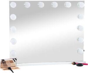 Schminkspiegel Palmdale weiß Kosmetikspiegel LED Hollywoodspiegel Tischspiegel