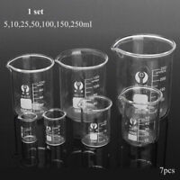 5ML - 250ML Chemistry Laboratory Glass Beaker Beakers graduate Scale Measuring