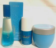 3 PIECE SET AVON EXOTIC WATERS EAU DE COLOGNE SPRAY + DEODORANT + PERFUMED CREAM