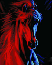 """16x20"""" DIY Home Decor Acrylic Paint By Number Kit Red Blue Horse 158"""
