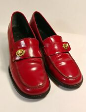 Coach 'Geri' Red Leather Loafer Heels Shoes Women'S Size 8 B *Xlnt*
