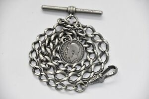ANTIQUE GRADUATED ALBERT POCKET WATCH CHAIN + 1914 SILVER COIN FOB