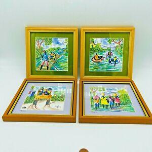 Haitian Pierre Henry Jamaica 4 Original Watercolors Framed Bus Tubing Boat Walk