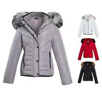 Shelikes Womens Ladies Quilted Padded Winter Warm Fur Parka Jacket