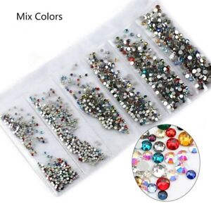 1400pcs 6 Size Diamante Gems Crystal Rhinestone MIXED 3D Nail Art Decoration UK