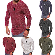 Men's Slim Fit Knitted Camo Long Sleeve Muscle Tee T-shirt Casual Tops Blouse