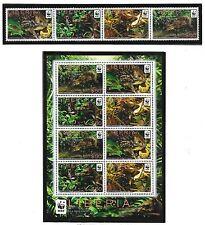 LIBERIA SC 2738+2738a NH STRIP+MINISHEET of 2011 - WWF - ANIMALS