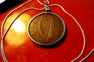 """1952  IRISH PENNY PENDANT CLASSIC BRONZE on 18"""" 925 Sterling Silver Snake Chain"""