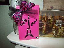 Shabby Paris chic decor hot pink black Eiffel Tower block shelf sitter French