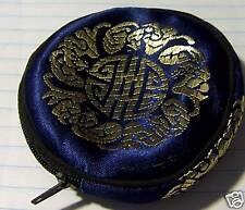 "THREE 3.5"" Blue & Gold Chinese symbol Fabric Jewelry Charm Gift Zipper Bag"
