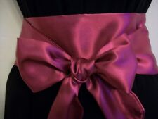 "3.5x60"" NEW BURGUNDY WINE SATIN FABRIC SASH BELT SELF TIE BOW UPDATE DRESS PARTY"