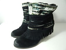 NAUGHTY MONKEY -Women's 8.5 M - Black Textile & Fringe Suede Slip-on Boots -NWOB
