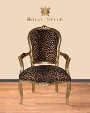 Barockstuhl im leoparden Muster gold antik repro design Lounge deko Salon modern