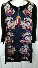 ladies floral black dress size 10 long sleeve NEW with tags