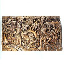 Alte, große Teakholz Handarbeit 3D Schnitzerei Relief Bali Indonesien 50x30