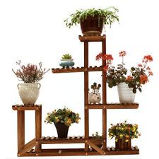5 Tiers Wood Shelf Plant Stand Bathroom Rack Garden Flower Pot Holder Carbonized