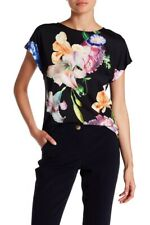 TED BAKER Woesy Tapestry Floral print black pink blue t-shirt tee shirt top 4 14