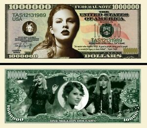 TAYLOR SWIFT BILLET 1 MILLION DOLLAR US Collection Chanteuse Pop Photo Signature