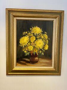 Vintage Framed Original Oil Painting Autumn Gold Meredith Howard Chrysanthemums