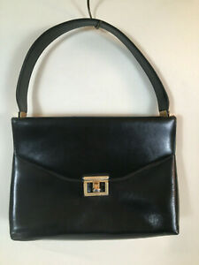 ETRA Vintage Mid Modern Century Square Black Purse 11 x 7 with Strap