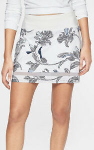 ATHLETA Women's M Laser Cut RUN Skort Floral White/Black Skirt Tennis Activewear