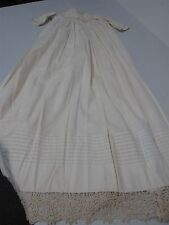 "ANTIQUE IVORY COTTON BABY LONG 37"" CHRISTENING GOWN w HAND TATTED CROCHET EDGE"