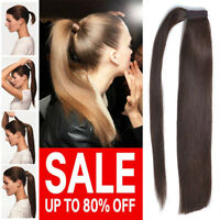 Real Remy 8A Human Hair Wrap Around Ponytail Piece Clip In Pony Tail THICK P561