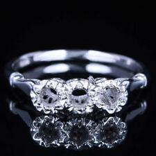 Engagement Ring Setting Solid 10K White Gold 3mm Round Three Stone Semi Mount