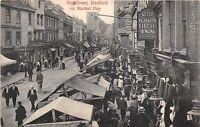 POSTCARD   KENT   DARTFORD   High  Street  Market  Day  Circa  1907   RP