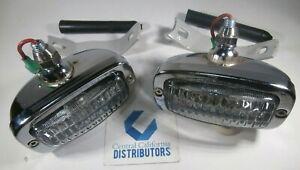 VW Bug Ghia T3 Reverse / Back-Up Lights CHROME Left & Right PAIR W/ Bracket