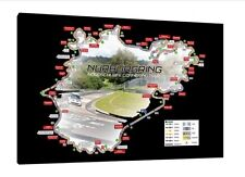 Nurburgring Nordschleife Circuit Map - 30x20 Inch Canvas Framed Picture Print
